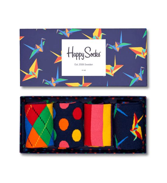 Bold colors and fun patterns make this gift pack a popular one. The set of four includes a pair of argyle, a pair of big dot, a pair of stripes, and a pair of origami socks. Crafted from combed cotton, these socks are both smooth and breathable for topnotch comfort. Packaged in a dark blue box with an origami design, this gift box from Happy Socks is available is various sizes.