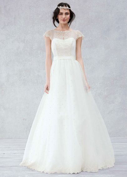 davids bridal cap sleeve gown with scalloped detail bodice kp3657