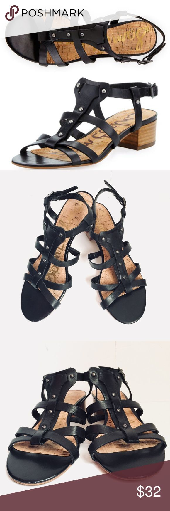 "SAM EDELMAN ANGELA STUDDED GLADIATOR SANDALS * Leather Sam Edelman sandal with studs. * Stacked 1 1/2"" block heel. * T-strap vamp. Size8.5""M * Adjustable heel strap. * Leather upper, Cork insole. * ""Angela"" is imported. Sam Edelman Shoes Sandals"