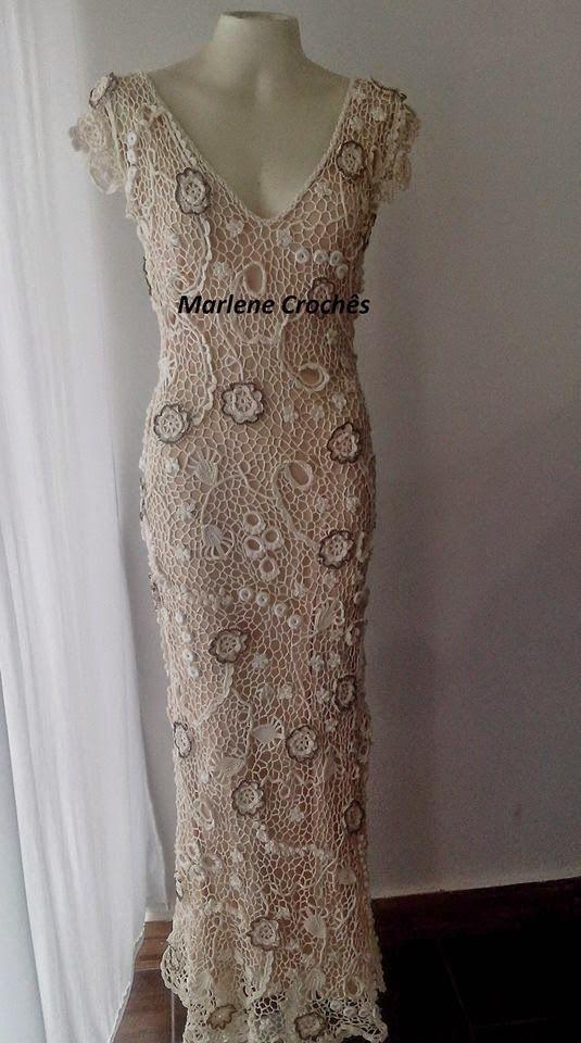 Vestido de Noiva Vitoria de Renda Irlandesa! ~ Marlene Crochês