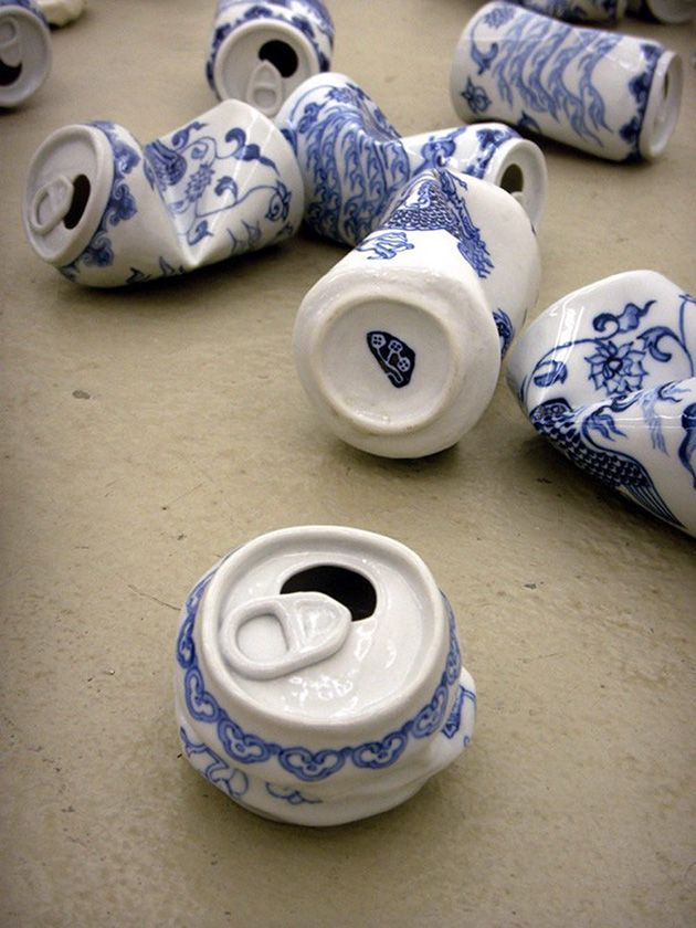 A fun series of ceramic sculptures that merge the form of smashed aluminum cans with Ming Dynasty porcelain.
