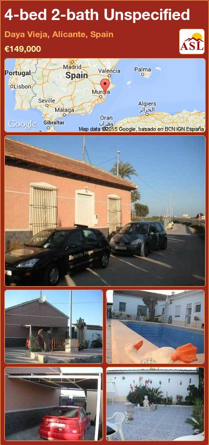 4-bed 2-bath Unspecified in Daya Vieja, Alicante, Spain ►€149,000 #PropertyForSaleInSpain