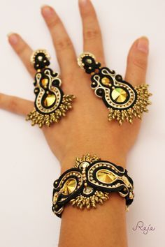 Reje creations soutache set Aurum- bracelet and earrings https://www.facebook.com/rejegioielliinsoutache