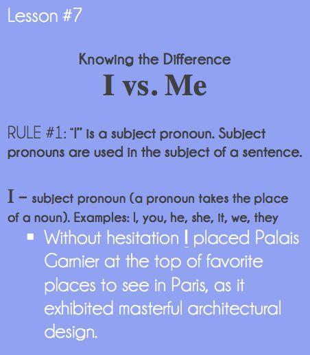 Good Grammar Is . . . : I vs. Me