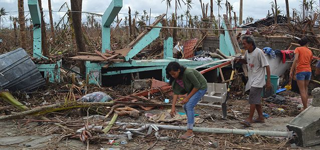 Destruction following Typhoon Haiyan in the Philippines
