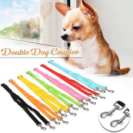 Pet Puppy Polyester 7 Colors Dog Control Double Leashes 50cm