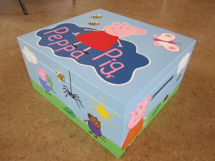 Hand painted 'Peppa Pig' Toy box small Toy box 37.5cm(L) x