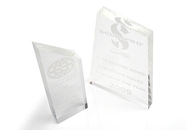 Awards made out of Acrylic... much more practical than glass!  And certainly look better than those brass plaques!