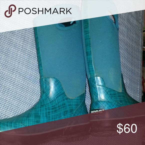 Women's bogs boots muck They are teal and plaid teal women's mud boots Bogs Shoes Winter & Rain Boots