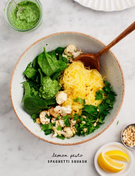 Lemon Pesto Spaghetti Squash - I will try with some homemade pesto I have frozen
