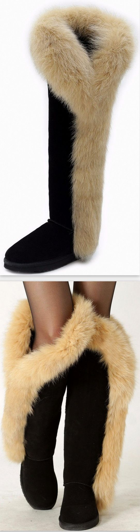 Fur & Suede Leather Flat Knee Boots-Black
