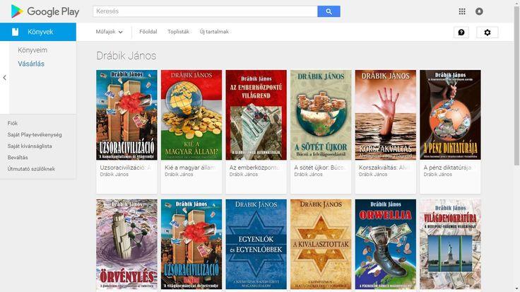 Drábik János Google Play e-könyvei magyarul (Android Market): https://play.google.com/store/search?q=J%C3%A1nos%20Dr%C3%A1bik&c=books