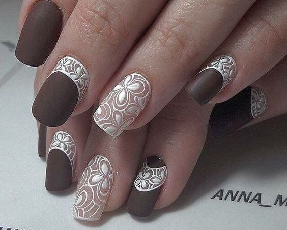 Brown, white & nude floral tropical inspired nails.
