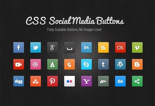 Free CSS3 Social Media Buttons By MediaLoot