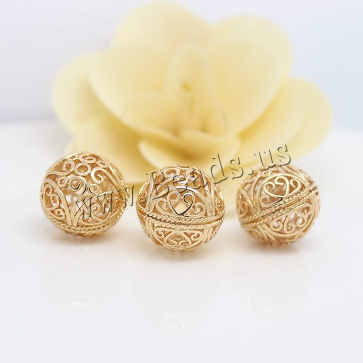 Hollow Brass Beads, Round, 24K gold plated, nickel, lead & cadmium free