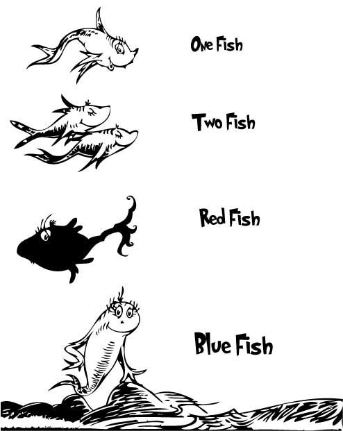 coloring pages one fish two fish red fish blue fish