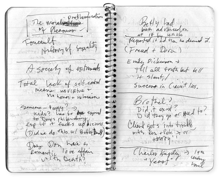 """Matthew Weiner's notes for #MadMen, season 3. """"TV writing is for people who hate being alone more than they hate writing."""""""