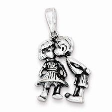 Sterling Silver Antiqued Boy Kissing Girl Charm