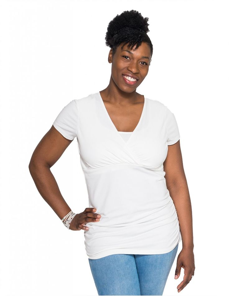 This new nursing top will quickly become your favorite! The nursing opening is completely inconspicuous, while remaining easy to access.  The design is so flattering to the post-partum figure. The gathered stitch at the sides allow you to wear this top during pregnancy and while breastfeeding.