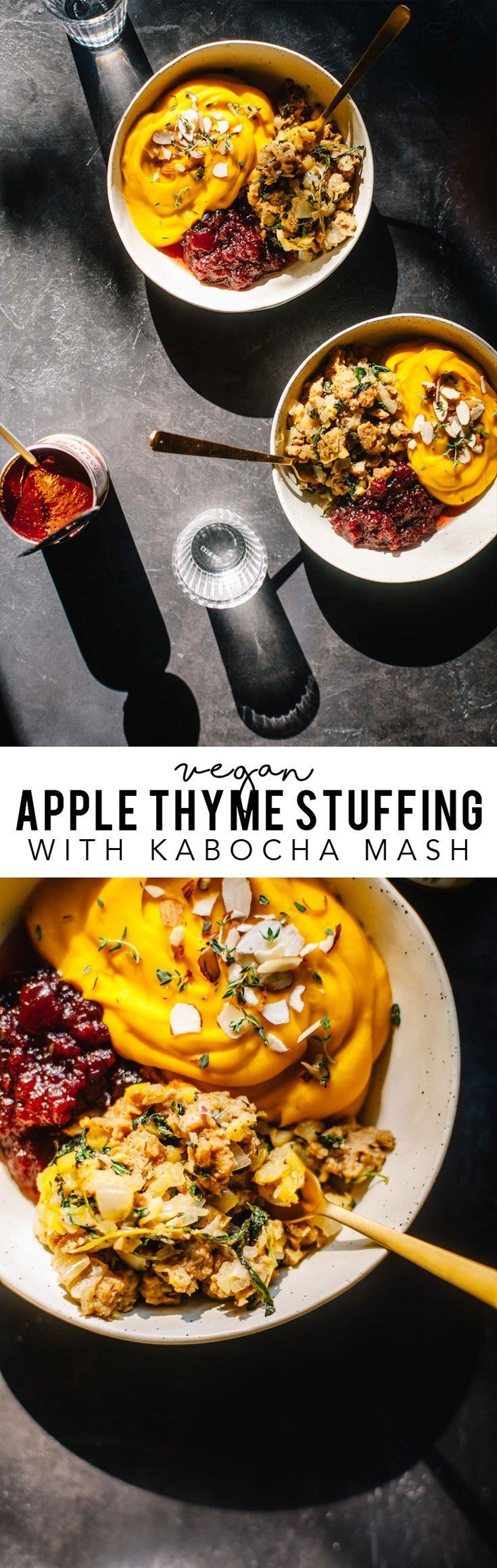 This vegan apple thyme sausage stuffing with kabocha squash mash is the perfect healthy Thanksgiving alternative to serve this year! #vegan #Thanksgiving #healthy | Brewing Happiness