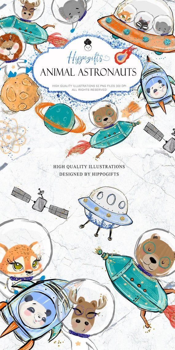 Astronaut Clipart Animal Astronaut Clip Art Boy Clipart Etsy Clip Art Glitter Planner Animals