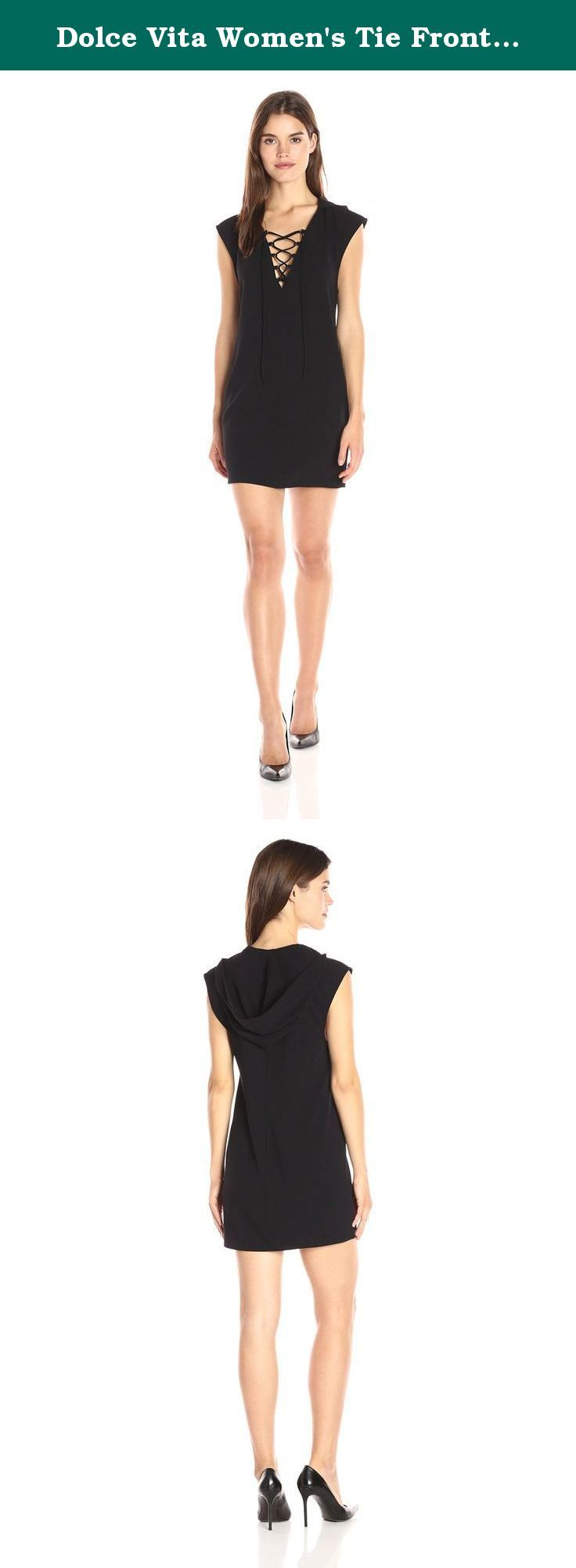 Dolce Vita Women's Tie Front Hooded Logan Dress, Black, L. Hooded lace-up front sleeveless knit dress by Dolce Vita.