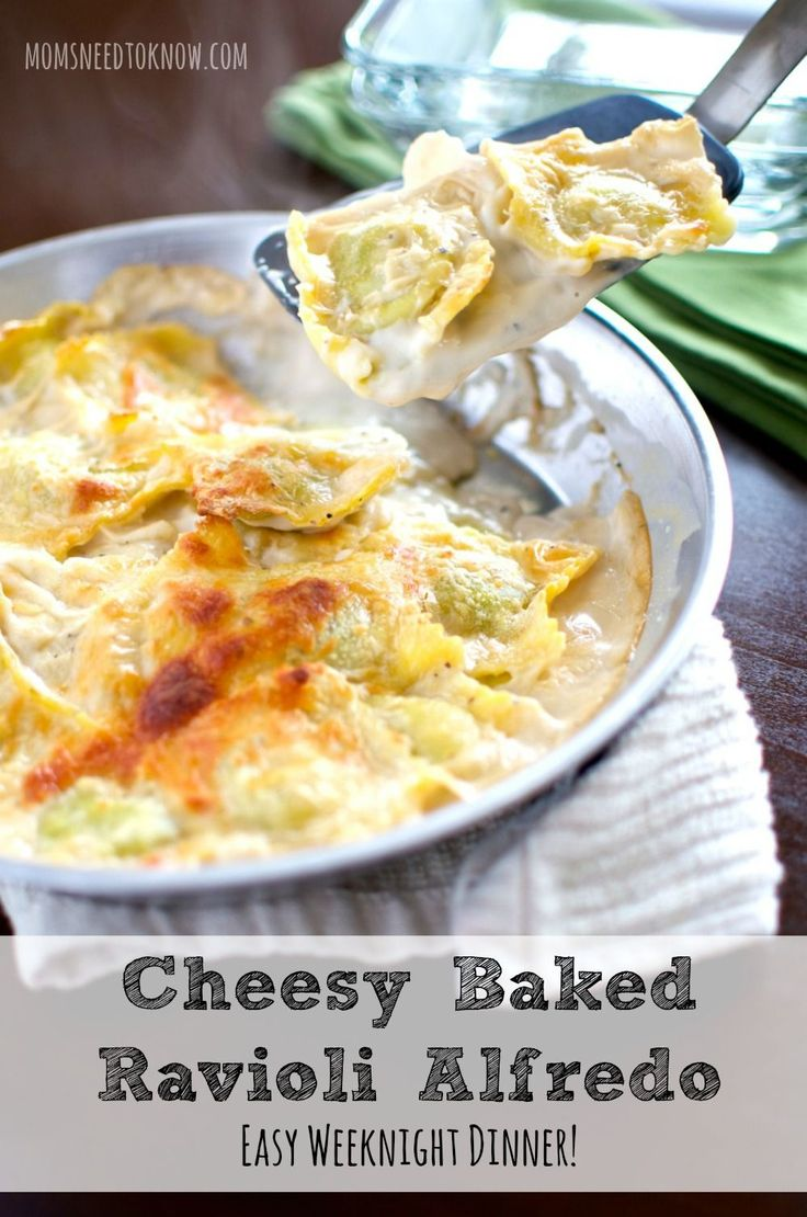 This cheesy baked ravioli alfredo recipe is such an easy weeknight dinner!