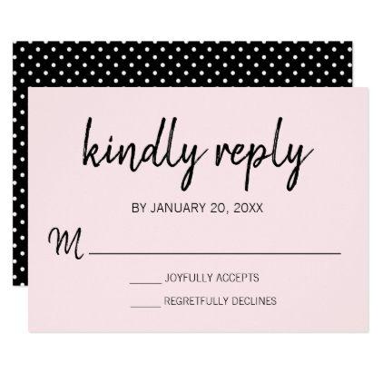 Modern Blush Pink Wedding RSVP Card   Black - reply diy cyo unique personalize customize