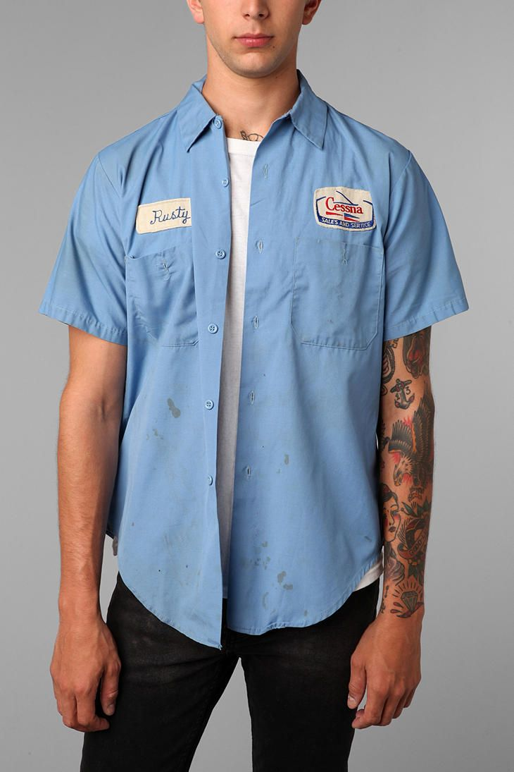 urban renewal vintage distressed mechanic shirt names