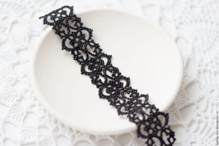 """Купить Кружевной браслет """"Амалия"""" - черный, браслет, кружевной браслет, черный браслет, фриволите"""