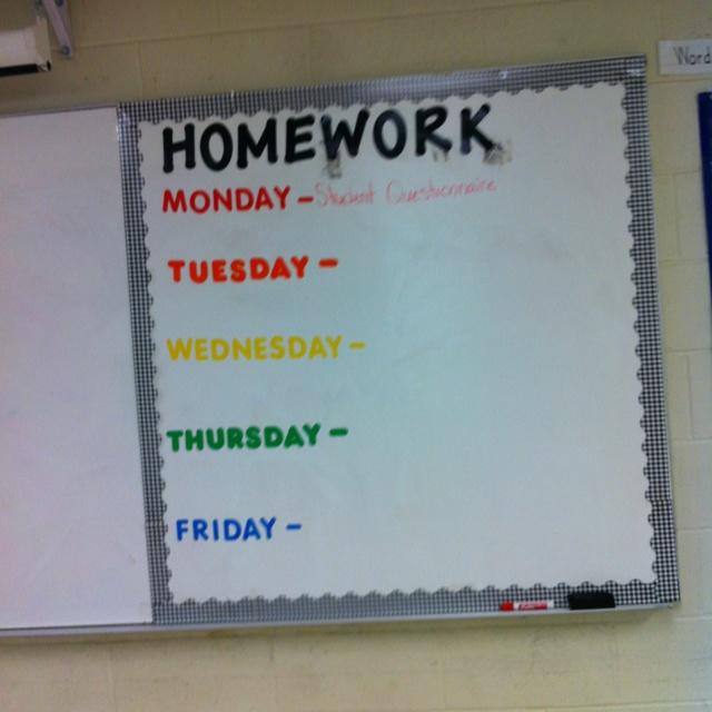 Colorful Homework Board