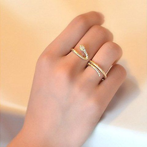 Stunning Snake Shaped Twisted Rhinestone Embellished Ring For Women