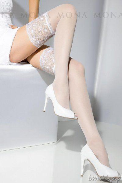 Wyjątkowo kobiece, ekskluzywne pończochy, posiadające ozdobną silikonową koronkę, bez zaznaczonej części palcowej. Zapewniają poczucie elegancji i komfort noszenia. Skład: 90% poliamid, 10% elastan.... #Ponczochy - http://bmsklep.pl/mona-wedding-rosalia-09