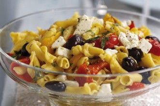 Roast pepper, olive and feta pasta salad