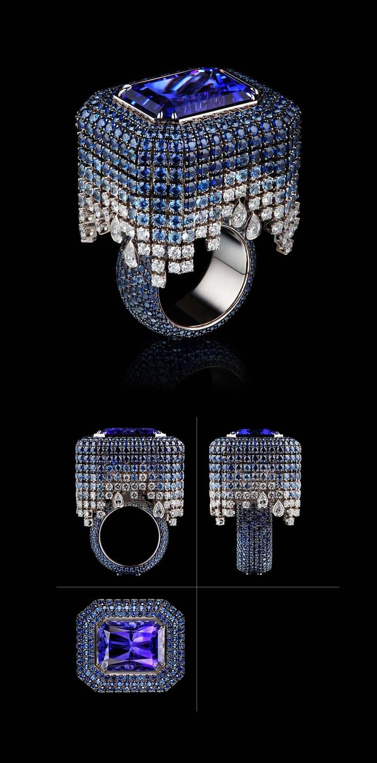 VLAD GLYNIN jewellery - Ring «Tululusia», 2012. White gold, tanzanite, sapphires, diamonds. / Кольцо «Тулулусия», 2012 г. Белое золото, танзанит, сапфиры, бриллианты. / Anello «Tululusia», 2012. Oro bianco, tanzanite, zaffiri, diamanti.