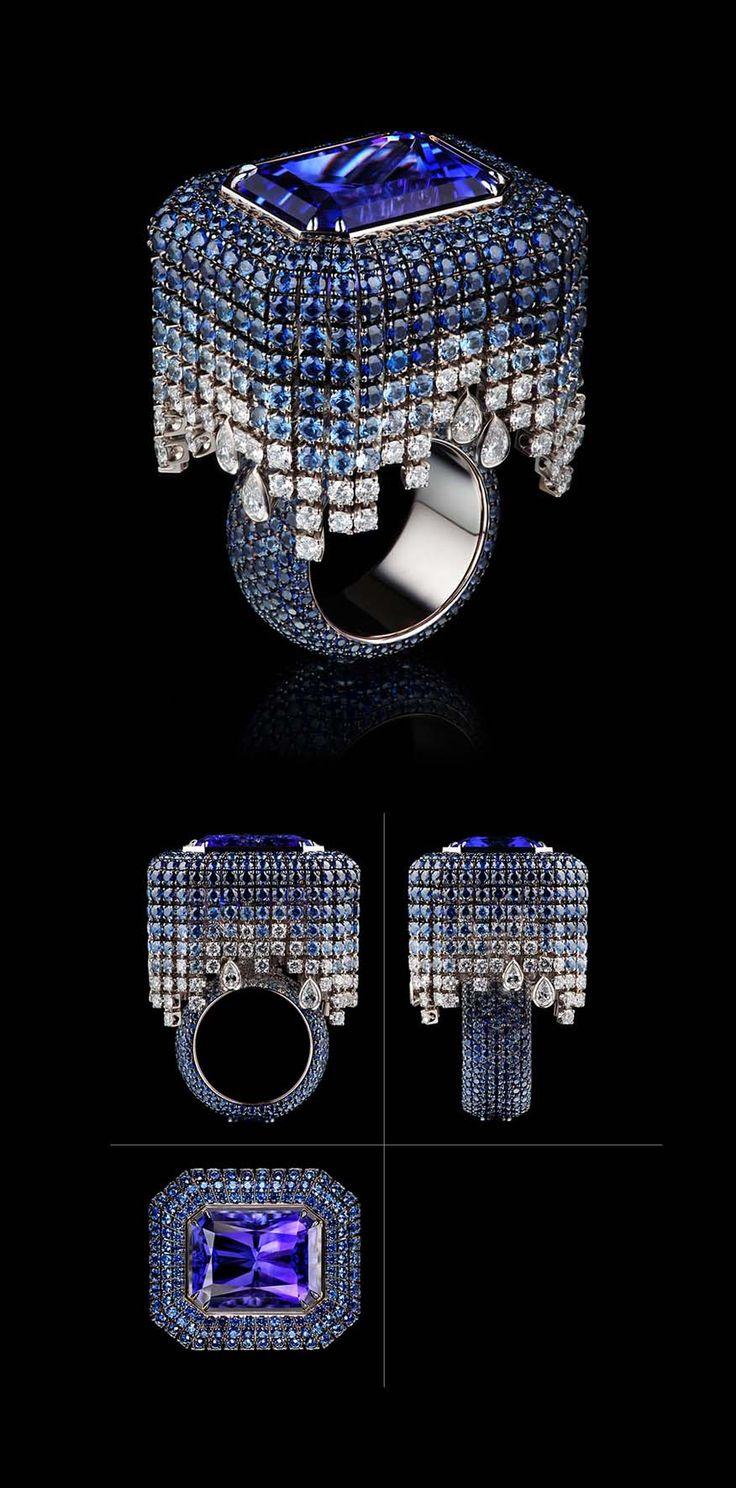 VLAD GLYNIN jewellery - Ring «Tululusia», 2012. White gold, tanzanite, sapphires, diamonds. / Кольцо «Тулулусия», 2012 г. Белое золото, танзанит, сапфиры, бриллианты. / Anello «Tululusia», 2012. Oro bianco, tanzanite, zaffiri, diamanti.