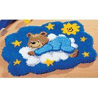 Bear On A Cloud Latch Hook Rug Making Kit. Vervaco