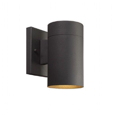 Lampe extérieur cylindrique en métal noir éclairant vers le bas.