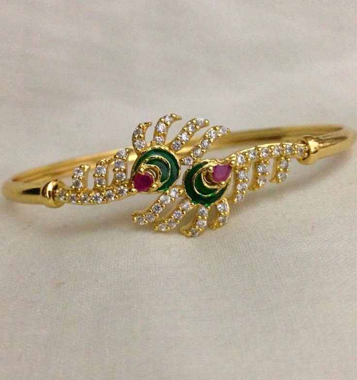 CZ and ruby emerald stone kada Code : BAK 385 Price : 700/- Whatsapp to 09581193795/- for order processing....
