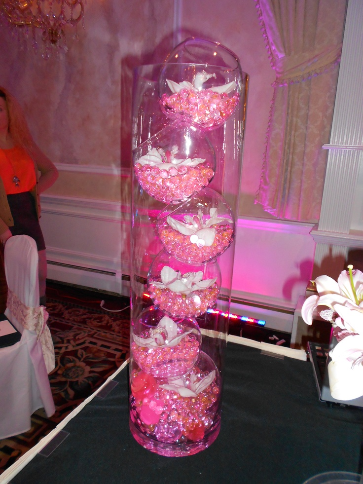 Beautiful Pink Marble And Flower Centerpieces From A 2012