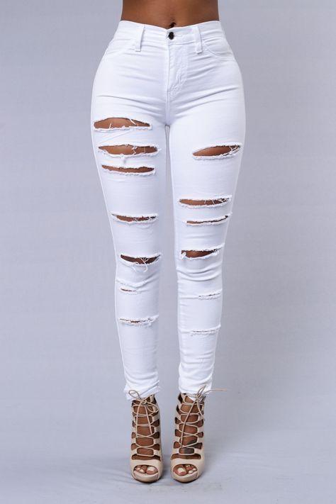 Slash and Burn Jeans - White