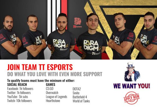 Continue what you love doing with even more resources for that added competitive edge. If your team meets our minimum requirements, simply head on over to our team application page here (https://goo.gl/BfFc2a) and apply now :)  #TteSPORTS #TeamTteSPORTS