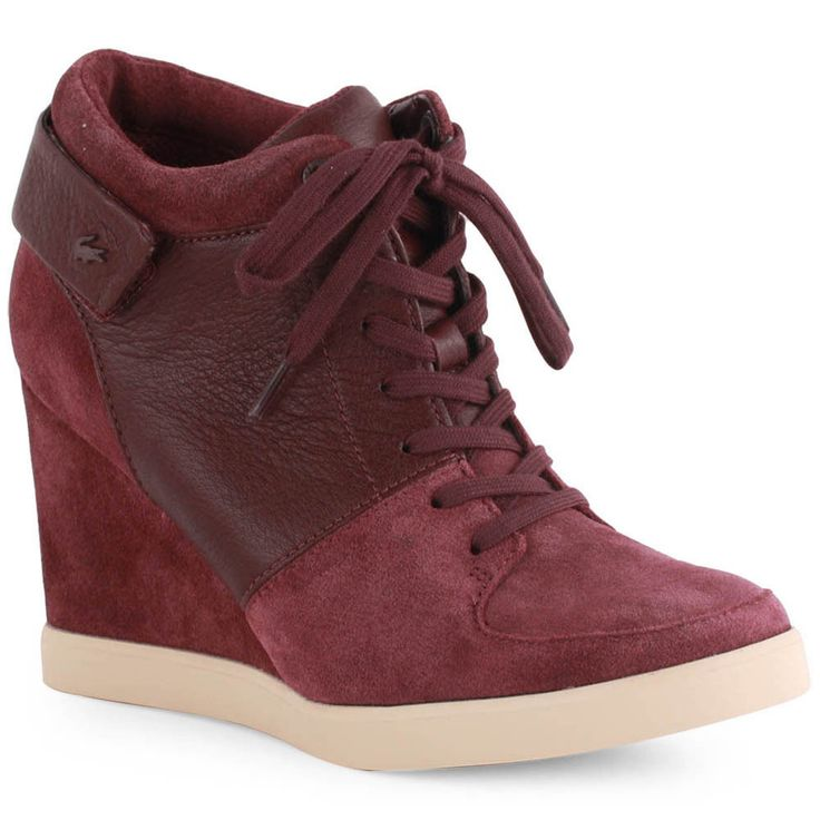 Lacoste Korelle Womens Wedge Trainers Boots Suede Burgundy New Shoes 5 -  eBay £78.99,