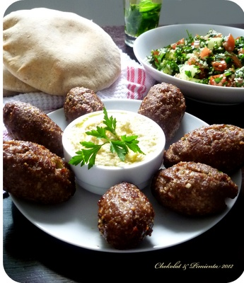 Arabic food, Kibbe, tabule, hummus and pita bread