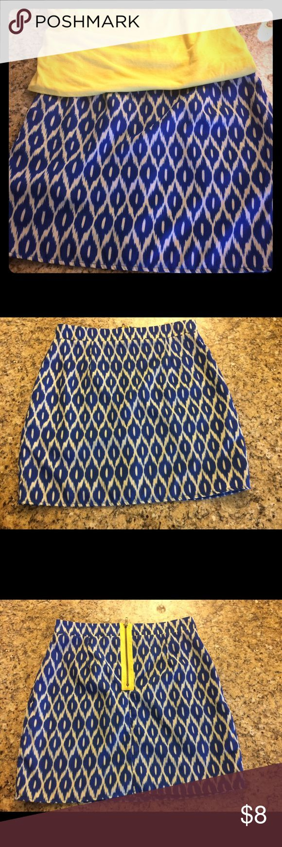 Adorable Women's Blue and White Skirt Blue and White design with a yellow zipper for a dash of color! Perfect for the weekend or evening 🍹 drinks! 100% polyester, easy care! Annabella Skirts Midi