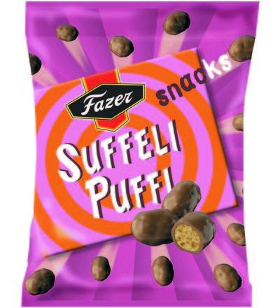 2,30 EUR | Suffeli Puffi Snack -makeisten suklaakuorrutteen alta paljastuu rapea…