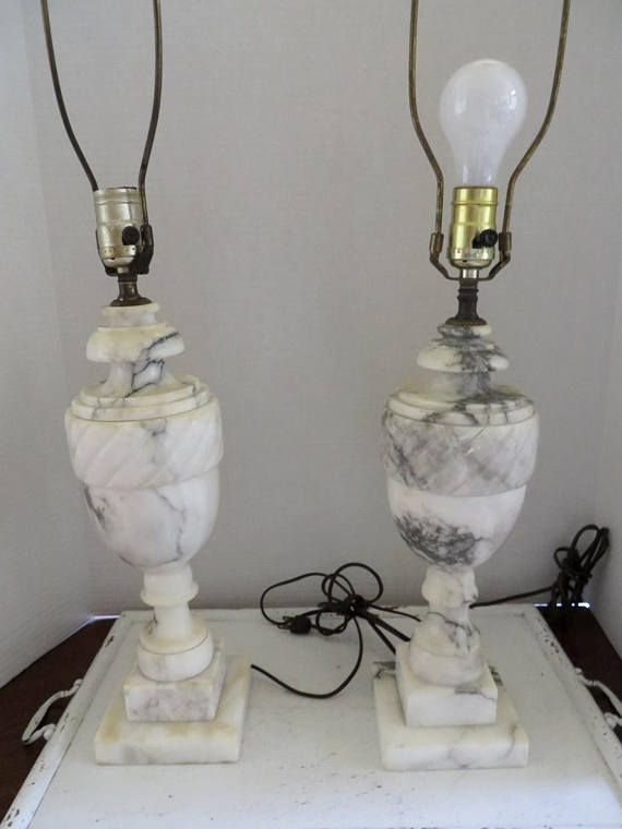 Vintage Pair Italy Carved Marble Tall Table Lamps