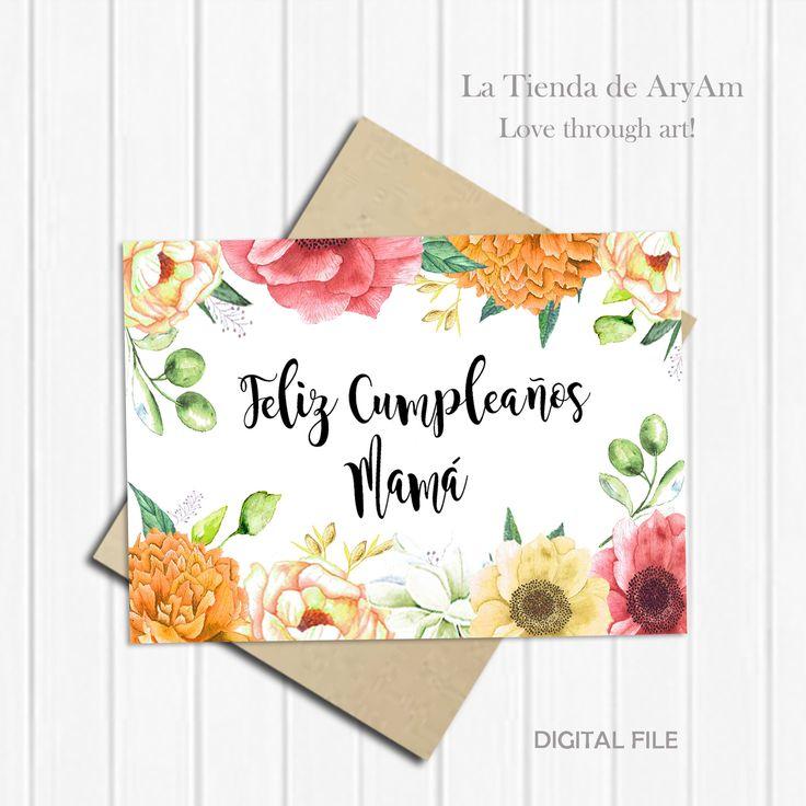 Feliz Cumpleaños, Printable Birthday Card for Mom in
