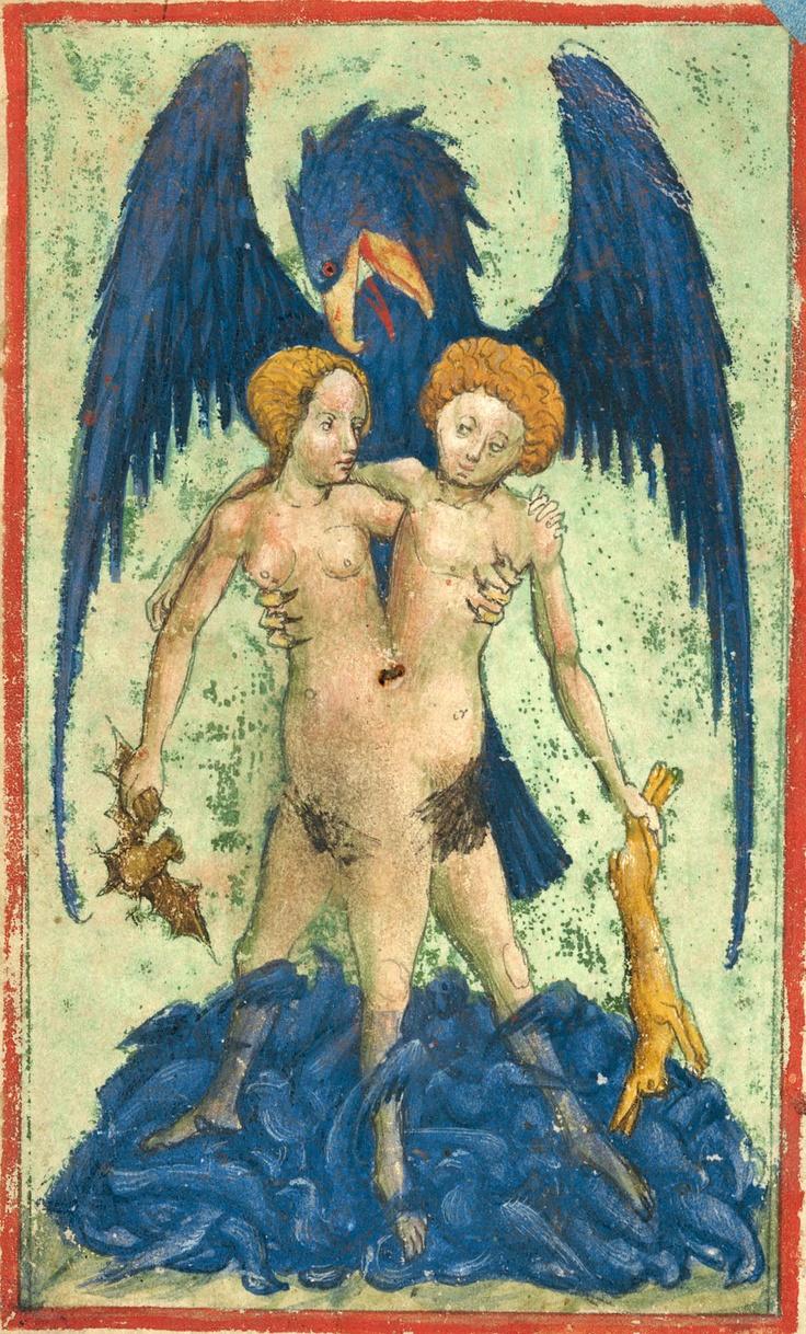1=VD-2. L'androgyne, l'aigle et les colombes de Diane. La partie féminine tient une chauve-souris, la partie masculine un lièvre. -- Aurora consurgens - Aurea hora, ca 1420