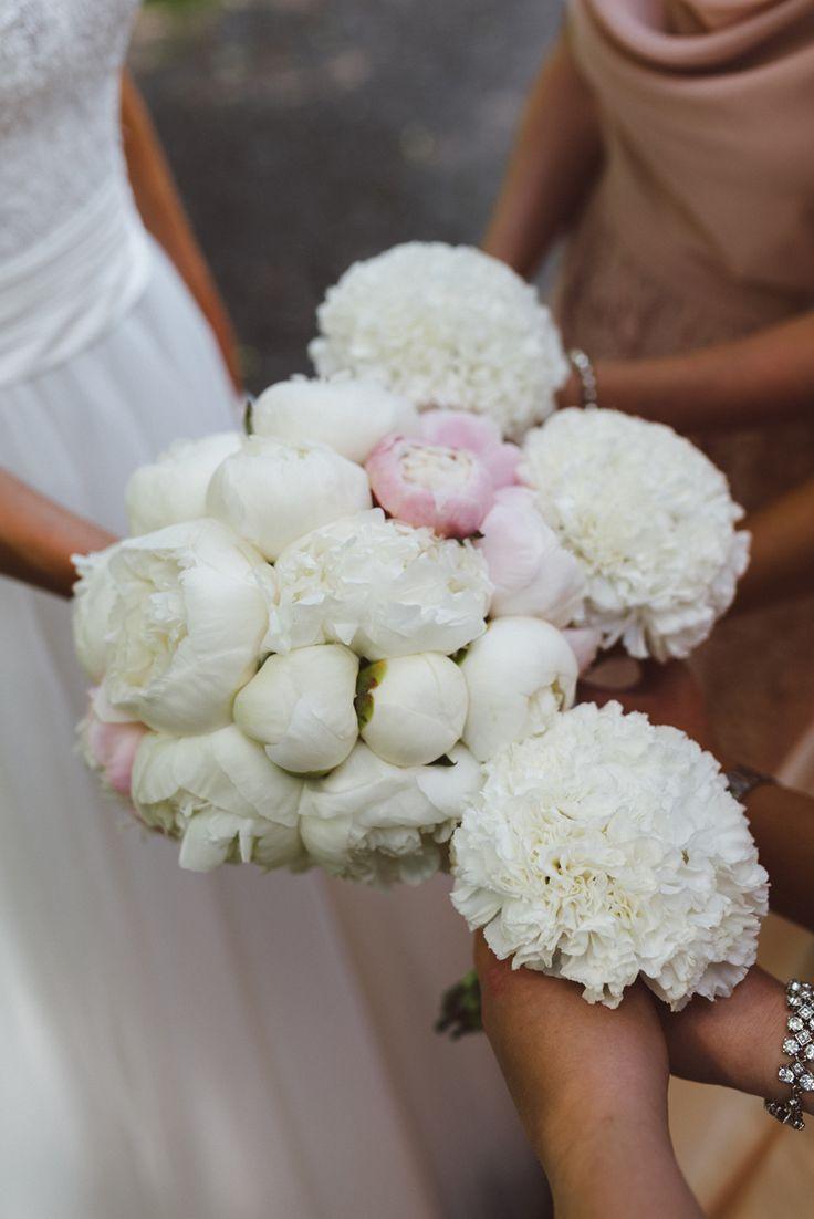 White pink peony bud wedding bouquet